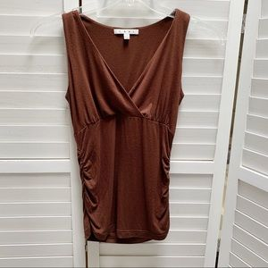 CAbi #939 Faux Wrap ruched side sleeveless top XS
